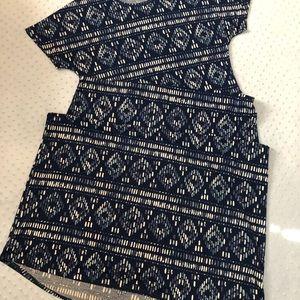 Lularoe VEUC Maria Large Blue Batik Print
